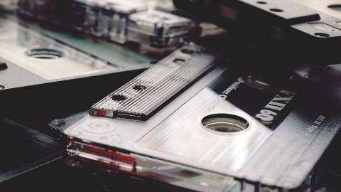 black cassette tapes